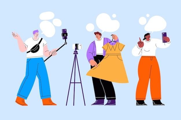 Ręcznie rysowane płaska konstrukcja blogerów