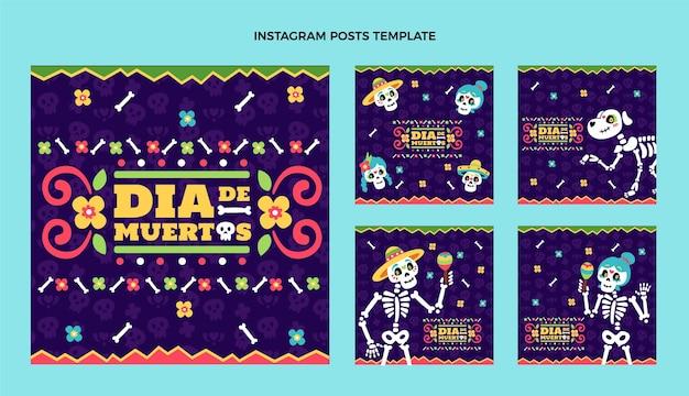 Ręcznie rysowane płaska konstrukcja dia de muertos ig post