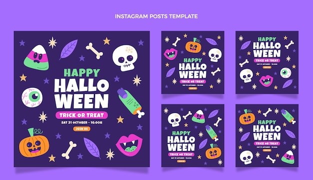 Ręcznie rysowane płaska konstrukcja halloween ig post