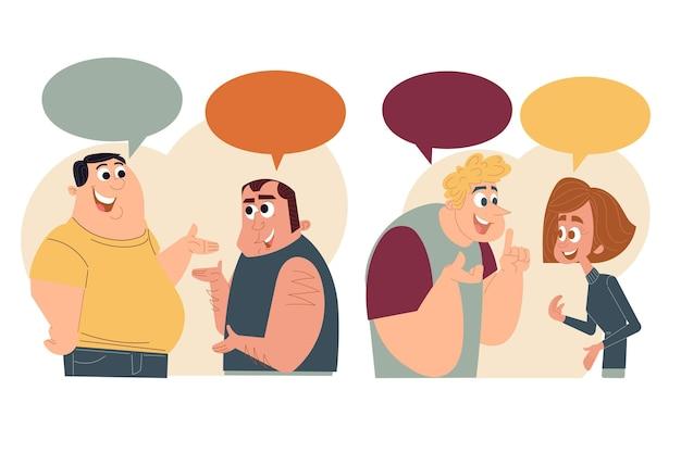Ręcznie rysowane płaska konstrukcja ludzi rozmawiających