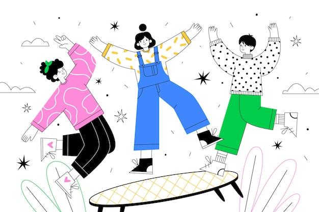 Ręcznie rysowane płaska konstrukcja ludzi skaczących