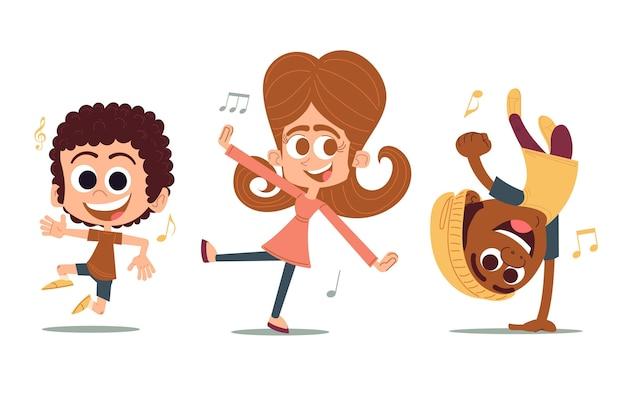 Ręcznie rysowane płaska konstrukcja ludzi tańczących