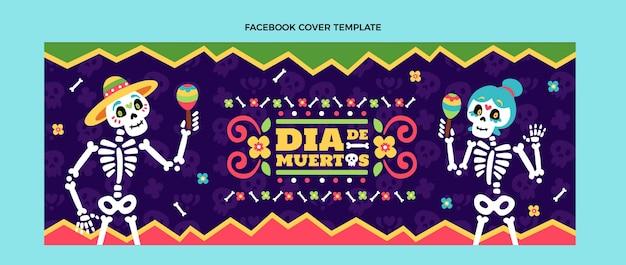 Ręcznie rysowane płaska okładka dia de muertos na facebooku