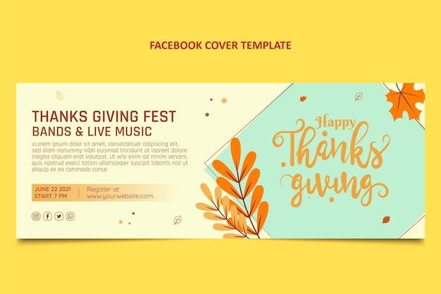 Ręcznie rysowane płaska okładka na facebook dziękczynienia