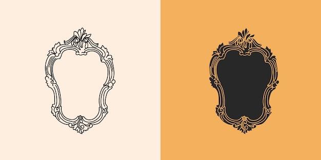 Ręcznie rysowane płaska rama lustra w stylu wiktoriańskim i sylwetka, magiczna sztuka w prostym stylu