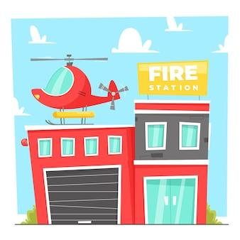 Ręcznie rysowane płaska remiza strażacka