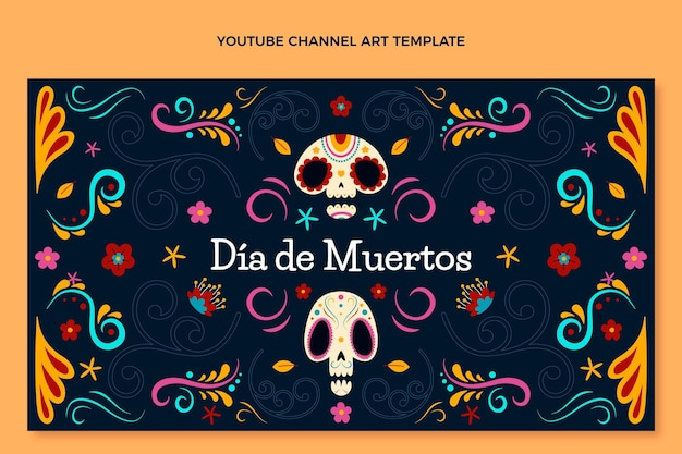 Ręcznie rysowane płaska sztuka kanału dia de muertos youtube