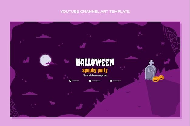 Ręcznie rysowane płaska sztuka kanału youtube na halloween