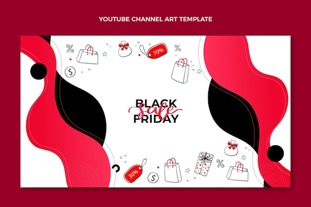 Ręcznie rysowane płaska sztuka kanału youtube w czarny piątek