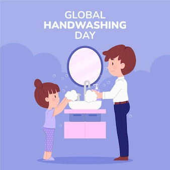 Ręcznie rysowane płaski globalny dzień mycia rąk ilustracja