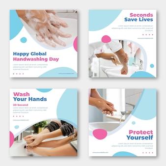 Ręcznie rysowane płaski globalny dzień mycia rąk kolekcja postów na instagramie