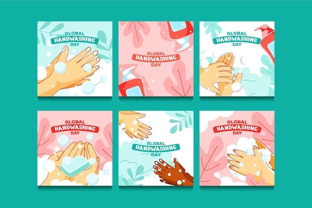 Ręcznie rysowane płaski globalny dzień mycia rąk szablon postu w mediach społecznościowych