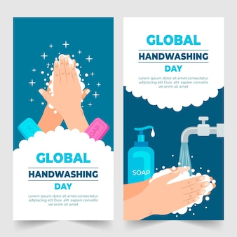Ręcznie rysowane płaski globalny dzień mycia rąk zestaw pionowych banerów
