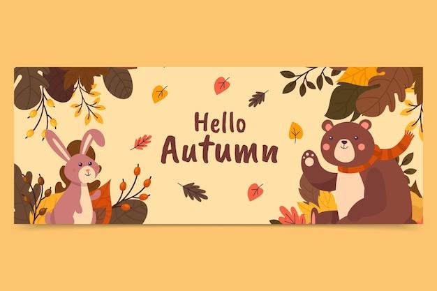 Ręcznie rysowane płaski jesienny szablon okładki mediów społecznościowych