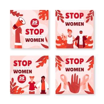 Ręcznie rysowane płaski międzynarodowy dzień eliminacji przemocy wobec kobiet kolekcja postów na instagramie