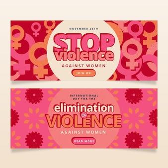 Ręcznie rysowane płaski międzynarodowy dzień eliminacji przemocy wobec kobiet zestaw poziomych banerów