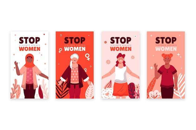 Ręcznie rysowane płaski międzynarodowy dzień na rzecz eliminacji przemocy wobec kobiet kolekcja opowiadań na instagramie