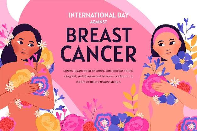 Ręcznie rysowane płaski międzynarodowy dzień na tle raka piersi