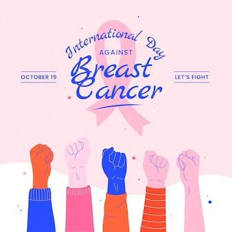 Ręcznie rysowane płaski międzynarodowy dzień przeciwko ilustracji raka piersi