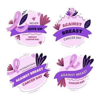 Ręcznie rysowane płaski międzynarodowy dzień przeciwko kolekcji odznak z napisem raka piersi