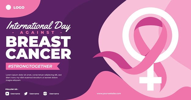 Ręcznie rysowane płaski międzynarodowy dzień przeciwko szablonowi postu w mediach społecznościowych z rakiem piersi