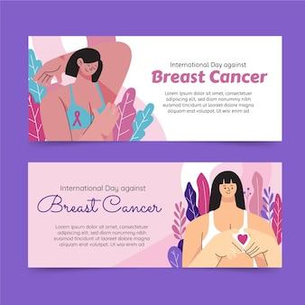 Ręcznie rysowane płaski międzynarodowy dzień przeciwko zestawowi poziomych banerów raka piersi