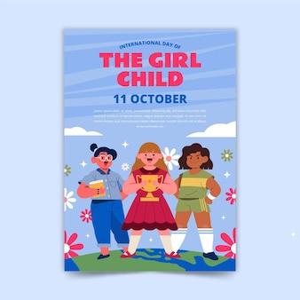 Ręcznie rysowane płaski międzynarodowy dzień szablonu ulotki dla dzieci dziewczynki