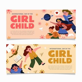 Ręcznie rysowane płaski międzynarodowy dzień zestaw poziomych banerów dziecka dziewczyny