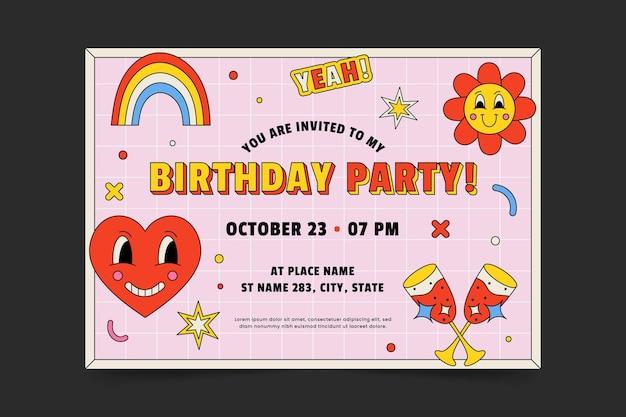 Ręcznie rysowane płaski modny szablon zaproszenia urodzinowego z kreskówek
