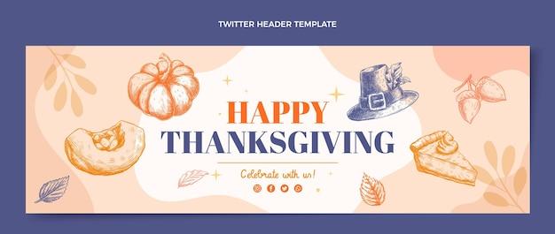 Ręcznie rysowane płaski nagłówek twittera na święto dziękczynienia