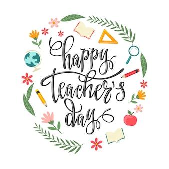 Ręcznie rysowane płaski napis dzień nauczyciela