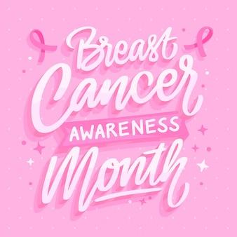 Ręcznie rysowane płaski napis miesiąca świadomości raka piersi