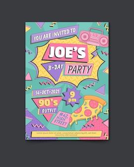 Ręcznie rysowane płaski nostalgiczny szablon zaproszenia na urodziny z lat 90.