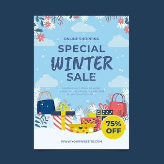 Ręcznie rysowane płaski pionowy szablon plakatu zimowej sprzedaży z prezentami
