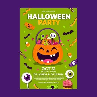 Ręcznie rysowane płaski pionowy szablon ulotki halloween party