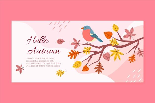 Ręcznie rysowane płaski poziomy baner jesienny