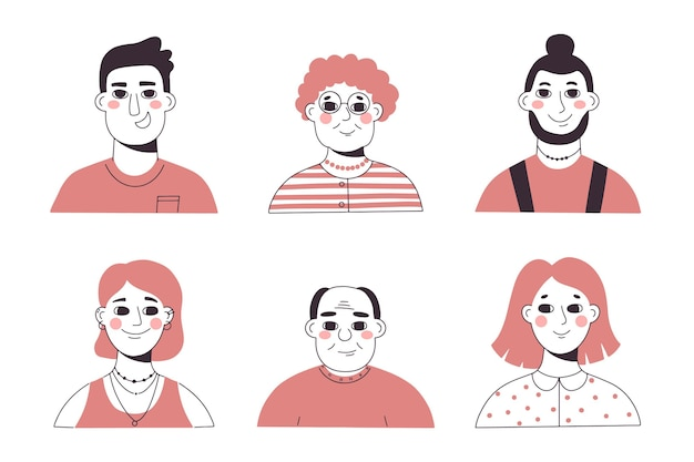 Ręcznie Rysowane Płaski Profil Ikona Darmowych Wektorów
