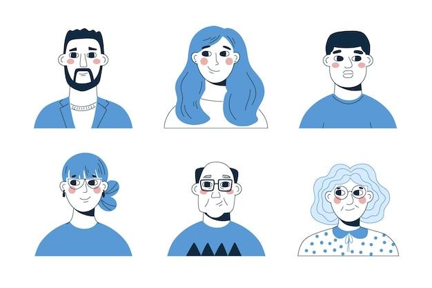 Ręcznie rysowane płaski profil ikona