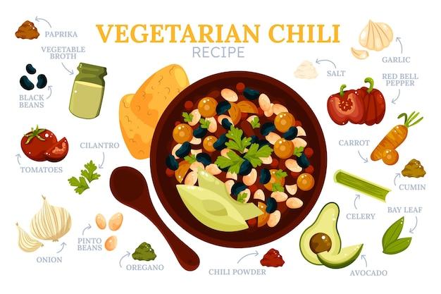 Ręcznie rysowane płaski przepis wegetariański