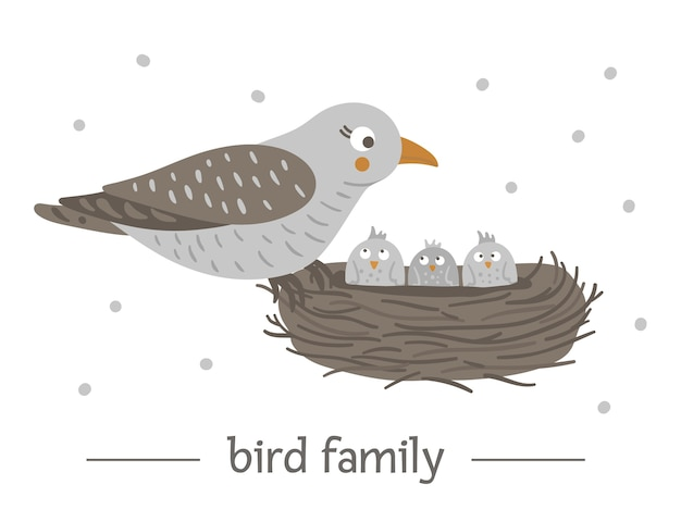 Ręcznie rysowane płaski ptak siedzący na gnieździe z jajami.