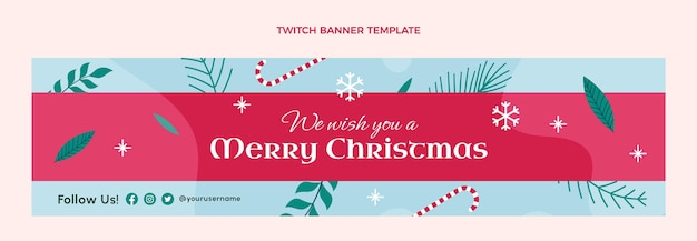 Ręcznie rysowane płaski świąteczny baner twitch