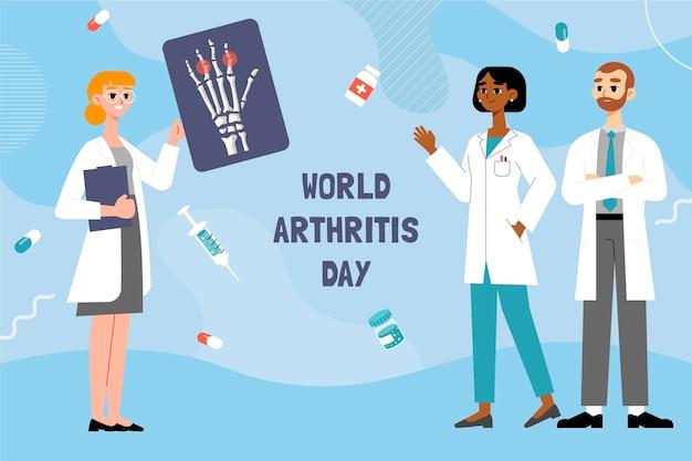 Ręcznie rysowane płaski światowy dzień artretyzmu w tle
