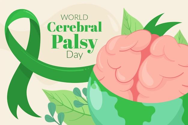 Ręcznie rysowane płaski światowy dzień porażenia mózgowego w tle