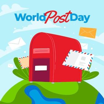 Ręcznie rysowane płaski światowy dzień postu ilustracja
