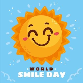 Ręcznie rysowane płaski światowy dzień uśmiechu ilustracja