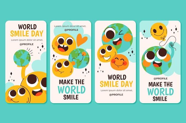 Ręcznie rysowane płaski światowy dzień uśmiechu kolekcja opowiadań na instagramie