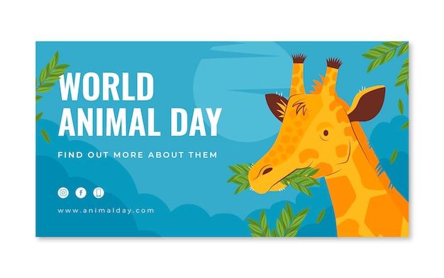Ręcznie rysowane płaski światowy dzień zwierząt w mediach społecznościowych szablon postu