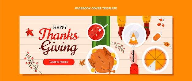 Ręcznie rysowane płaski szablon mediów społecznościowych na święto dziękczynienia