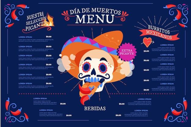 Ręcznie rysowane płaski szablon menu dia de muertos