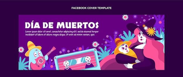 Ręcznie rysowane płaski szablon okładki mediów społecznościowych dia de muertos